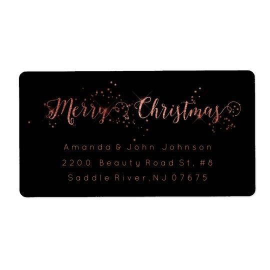 Frohe Weihnacht-Rosen-Goldrosa-Rücksendeadresse Versandetiketten