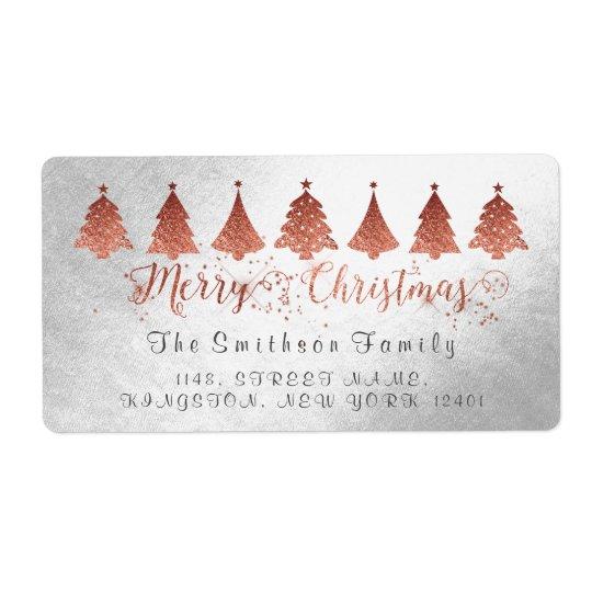 Frohe Weihnacht-Rosen-Rosa-Goldsilber-Adresse Versand Aufkleber