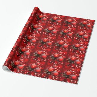 Frohe Weihnacht-Rot-Flitter Geschenkpapier