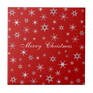 Frohe Weihnacht-Rot-Schneeflocken Fliese