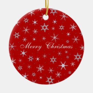 Frohe Weihnacht-Rot-Schneeflocken Rundes Keramik Ornament