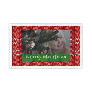Frohe Weihnacht-Rot-Strickjacke Acryl Tablett