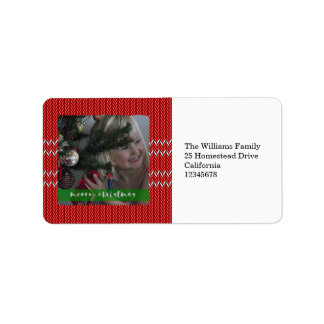 Frohe Weihnacht-Rot-Strickjacke Adressaufkleber
