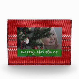 Frohe Weihnacht-Rot-Strickjacke Fotoblock