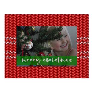 Frohe Weihnacht-Rot-Strickjacke Postkarte