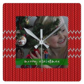 Frohe Weihnacht-Rot-Strickjacke Quadratische Wanduhr