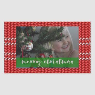 Frohe Weihnacht-Rot-Strickjacke Rechteckiger Aufkleber