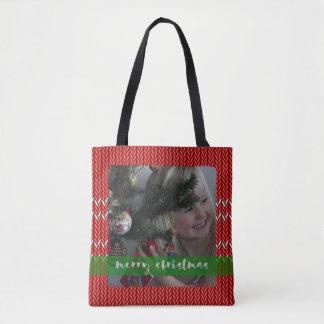 Frohe Weihnacht-Rot-Strickjacke Tasche