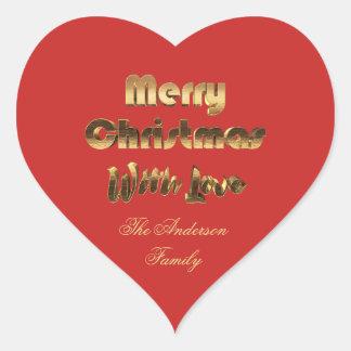 Frohe Weihnacht-rote Goldtypographie elegant Herz-Aufkleber