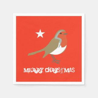 Frohe Weihnacht-rote Robin-Servietten-Servietten Papierservietten