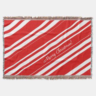 Frohe Weihnacht-rote weiße Streifen-Wurfs-Decke Decke
