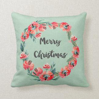 Frohe Weihnacht-roter BlumenAquarell-Kranz Kissen
