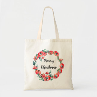 Frohe Weihnacht-roter BlumenAquarell-Kranz Tragetasche