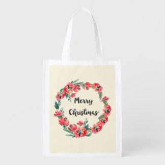 Frohe Weihnacht-roter BlumenAquarell-Kranz Wiederverwendbare Einkaufstasche