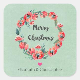 Frohe Weihnacht-roter BlumenKranz u. Herz Quadratischer Aufkleber