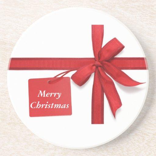 Frohe Weihnacht-roter Bogen-Untersetzer