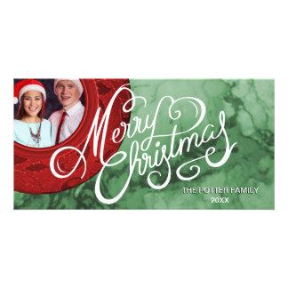 Frohe Weihnacht-roter grüner Marmorblick-Feiertag Karte