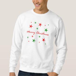 Frohe Weihnacht-roter und grüner Stern-Blizzard Sweatshirt