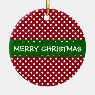 Frohe Weihnacht-roter und weißer Tupfen Rundes Keramik Ornament