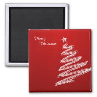 Frohe Weihnacht-roter Weihnachtsbaum Quadratischer Magnet