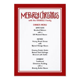 Frohe Weihnacht-rotes Abendessen-Menü 12,7 X 17,8 Cm Einladungskarte