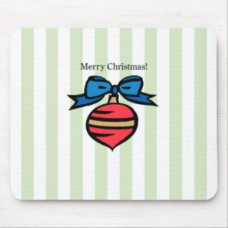 Frohe Weihnacht-rotes Verzierung Mousepad Grün