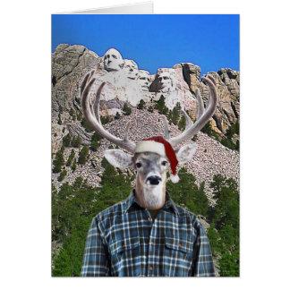 Frohe Weihnacht-Rotwild-Freund der Mount Rushmore Karte