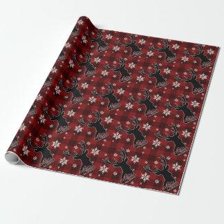 Frohe Weihnacht-Rotwild-rustikaler roter Büffel Geschenkpapier