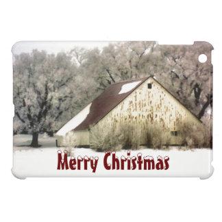 Frohe Weihnacht-rustikaler Scheunen-Schnee-Szenen- iPad Mini Cover
