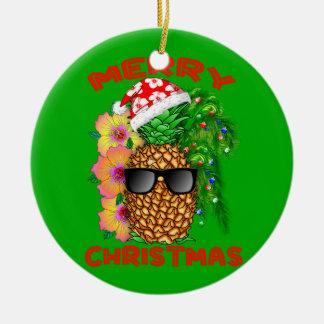Frohe Weihnacht-Sankt-Ananas Keramik Ornament