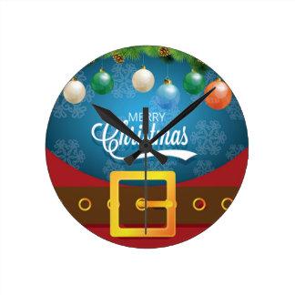 Frohe Weihnacht-Sankt-Anzug Runde Wanduhr