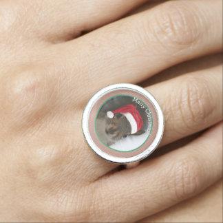 Frohe Weihnacht-Sankt-Eichhörnchen-tragende Foto Ring