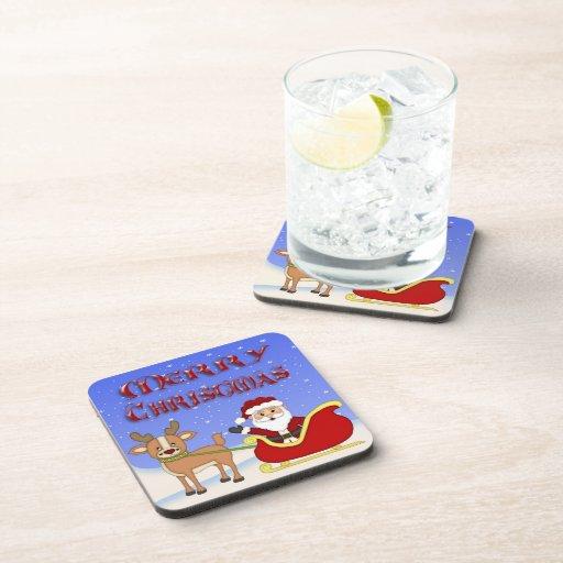 Frohe Weihnacht-Sankt-Getränk-Untersetzer-Set 6