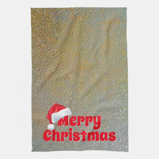 Frohe Weihnacht-Sankt-Imitat-silbernes Gold Geschirrtuch