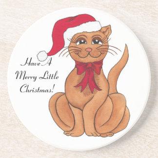 Frohe Weihnacht-Sankt-Katze - kundengerechter Getränkeuntersetzer