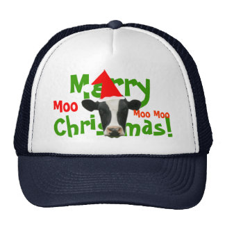 Frohe Weihnacht-Sankt-Kuh-Fernlastfahrer-Hut-Kappe Netzkappen