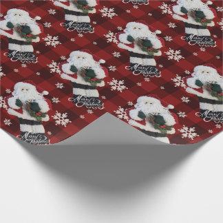 Frohe Weihnacht-Sankt-Schneeflocke-roter Büffel Geschenkpapier