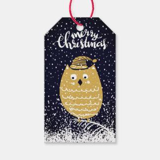 Frohe Weihnacht-Schnee-Eulen-Feiertag Geschenkanhänger