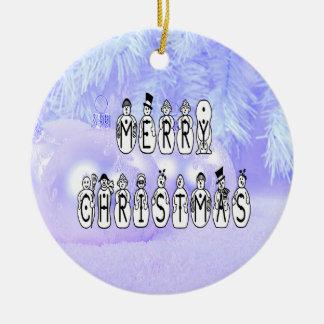 Frohe Weihnacht-Schnee-Leute-Schriftart, blauer Keramik Ornament