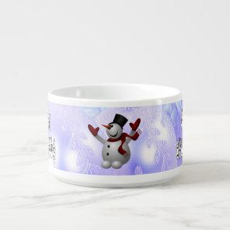 Frohe Weihnacht-Schnee-Leute-Schriftart, blauer Kleine Suppentasse