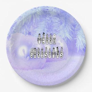 Frohe Weihnacht-Schnee-Leute-Schriftart, blauer Pappteller