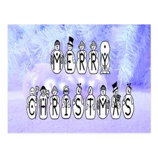 Frohe Weihnacht-Schnee-Leute-Schriftart, blauer Postkarte
