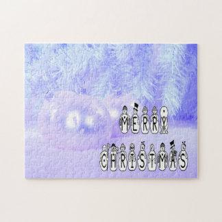 Frohe Weihnacht-Schnee-Leute-Schriftart, blauer Puzzle