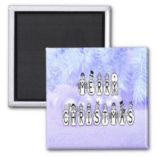 Frohe Weihnacht-Schnee-Leute-Schriftart, blauer Quadratischer Magnet