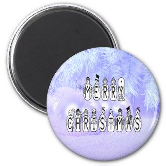 Frohe Weihnacht-Schnee-Leute-Schriftart, blauer Runder Magnet 5,1 Cm