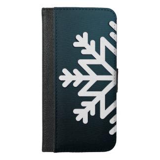 Frohe Weihnacht-Schneeflocke-Blau iPhone 6/6s Plus Geldbeutel Hülle