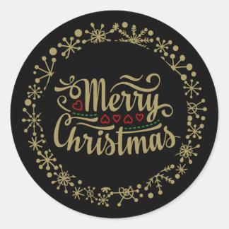 Frohe Weihnacht-Schneeflocke und Herz-Aufkleber