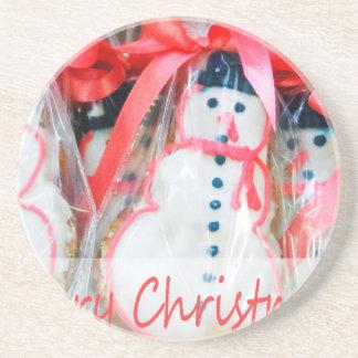 Frohe Weihnacht-Schneemann-Keks Untersetzer
