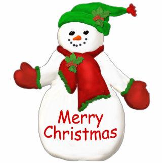 Frohe Weihnacht-Schneemann-Verzierung Foto Ausschnitte