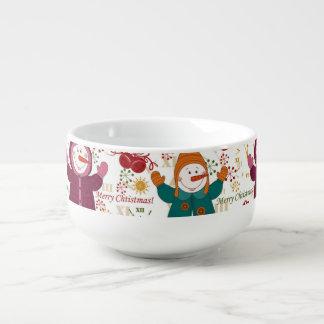 Frohe Weihnacht-Schneemänner Große Suppentasse